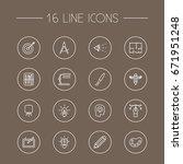 set of 16 constructive outline... | Shutterstock .eps vector #671951248