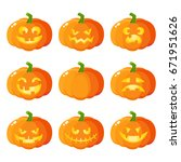set of halloween pumpkin jack o ... | Shutterstock .eps vector #671951626