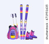skis  poles  boots and backpack ...   Shutterstock .eps vector #671951635