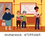 people in subway train car ... | Shutterstock .eps vector #671951665