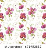 watercolor roses pattern | Shutterstock .eps vector #671953852