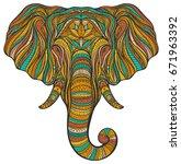 stylized ethnic boho elephant... | Shutterstock .eps vector #671963392