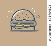 burger icon line art style.... | Shutterstock .eps vector #671964826