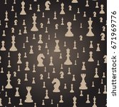 seamless pattern with chess... | Shutterstock .eps vector #671969776