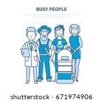 busy people  employees  staff ... | Shutterstock .eps vector #671974906