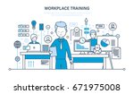 workplace training  technology  ... | Shutterstock .eps vector #671975008