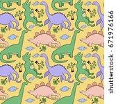 dinosaurs seamless pattern | Shutterstock .eps vector #671976166