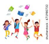 happy children boys  girls... | Shutterstock .eps vector #671980732