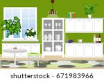the interior of the kitchen.... | Shutterstock .eps vector #671983966