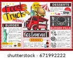 food truck festival vector menu ... | Shutterstock .eps vector #671992222