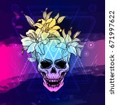 trash skull with lily flowers.... | Shutterstock .eps vector #671997622