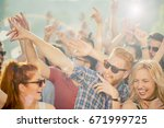 big group of people dancing and ... | Shutterstock . vector #671999725