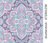 beautiful indian floral paisley ... | Shutterstock .eps vector #672001258