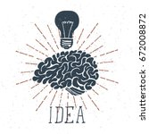 "hand drawn brain with ""idea""... 