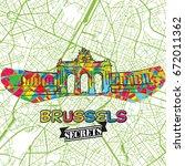 brussels travel secrets art map ... | Shutterstock .eps vector #672011362
