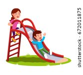 school or preschool kids... | Shutterstock .eps vector #672011875