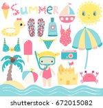 cute summer set in pink  blue... | Shutterstock .eps vector #672015082