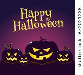 happy halloween greeting card ... | Shutterstock .eps vector #672021238