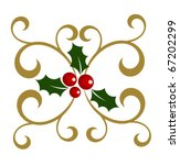 Holly berry symbol of Christmas with decorative elements. Vector illustration - stock vector