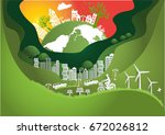 paper art  the global  windmill ... | Shutterstock .eps vector #672026812
