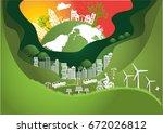 paper art  the global  windmill ... | Shutterstock .eps vector #672026812