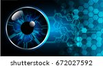 future technology  blue eye...   Shutterstock .eps vector #672027592