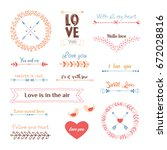 valentine s day design elements ... | Shutterstock .eps vector #672028816