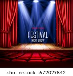 background with a red curtain... | Shutterstock .eps vector #672029842