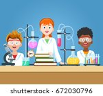 pupils in chemistry lab. school ... | Shutterstock .eps vector #672030796