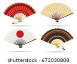 oriental japan fan set isolated ... | Shutterstock .eps vector #672030808
