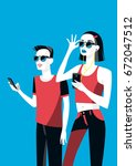 millennial boy and girl with... | Shutterstock .eps vector #672047512