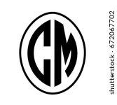 black monogram curved oval... | Shutterstock .eps vector #672067702