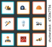 flat icons hardhat  pneumatic ... | Shutterstock .eps vector #672067756