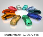 3d rendering  cars in a circle... | Shutterstock . vector #672077548