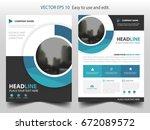 blue circle business brochure... | Shutterstock .eps vector #672089572