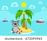 bear on the island. bathing.... | Shutterstock .eps vector #672095965
