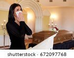 people and mourning concept  ... | Shutterstock . vector #672097768