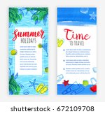 summer vacation. set of banner...   Shutterstock .eps vector #672109708