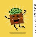 happy cartoon jumping purse... | Shutterstock .eps vector #672115552