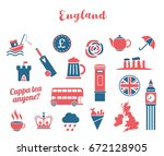 red and blue england icon...   Shutterstock .eps vector #672128905
