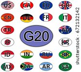 set oval stickers flags of the... | Shutterstock .eps vector #672132142