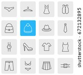 Stock vector vector illustration of dress icons editable pack of handbag casual waistcoat elements 672132895