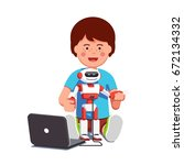 boy setting up  configuring ... | Shutterstock .eps vector #672134332