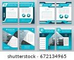 set of blue brochure flyer... | Shutterstock .eps vector #672134965