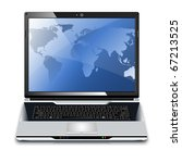 vector laptop with map on the... | Shutterstock .eps vector #67213525