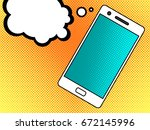 smartphone with message or chat.... | Shutterstock .eps vector #672145996
