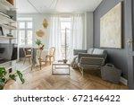 cozy home in scandinavian style ... | Shutterstock . vector #672146422