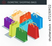 isometric shopping bags set. 3d ... | Shutterstock .eps vector #672150922