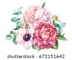 bouquet of flowers from peonies ... | Shutterstock . vector #672151642