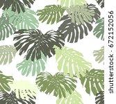 tropical leaves pattern... | Shutterstock .eps vector #672152056